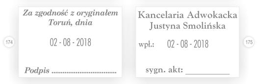 Datownik kancelarii adwokackiej z sygnaturą akt.