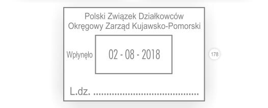 Duży datownik wpłynęło liczba dziennika LDZ.