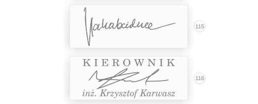 Wzór pieczątki faksymile, czyli odręczny podpis.