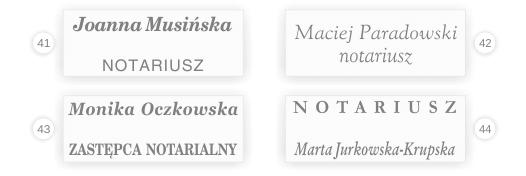 Wzór pieczątki notariusza i zastępcy.