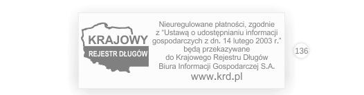 Wzór pieczątki z logo KRD krajowego rejestru długów.