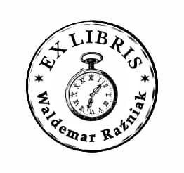 Exlibris wzór okrągły kieszonkowy zegarek.
