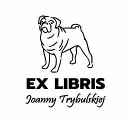 Exlibris wzór buldog pies.