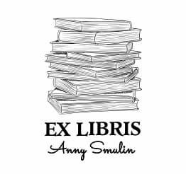 Exlibris wzór ze stertą książek.