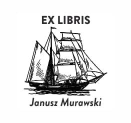 Exlibris wzór statek na morzu.