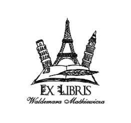 Exlibris wzór z Wieżą Eiffla w Paryżu