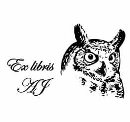 Exlibris wzór przedstawiający uszatą sowę.