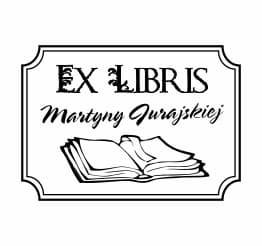 Exlibris wzór książka w eleganckiej ramce.