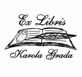 Exlibris wzór z sową w książce i leżącym na niej piórem.