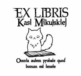 Exlibris wzór mały kotek czytający książkę.
