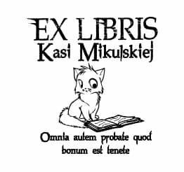 Exlibris wzór ciekawski kot i książka.