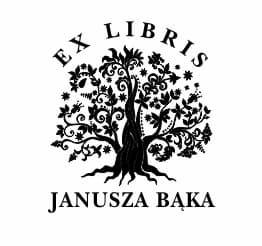 Exlibris wzór z drzewem i tekstem umiejscowionym nad drzewem.