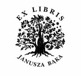 Exlibris wzór z drzewem i tekstem po otoku.