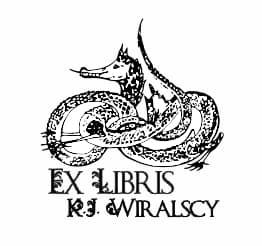 Exlibris wzór smok wąż.