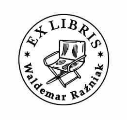 Exlibris wzór krzesło reżyserskie.