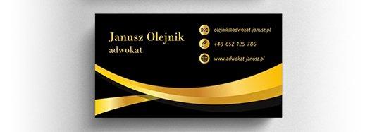 Projekt eleganckiej wizytówki adwokata.
