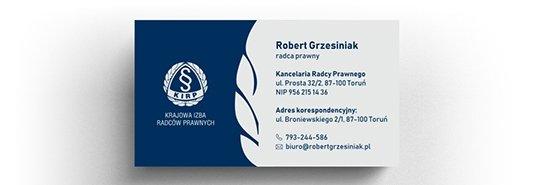 Projekt eleganckiej wizytówki radcy prawnego.
