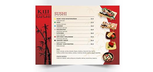 Projekt menu restauracji sushi.