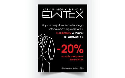 Projekt ulotki dla salonu mody męskiej.