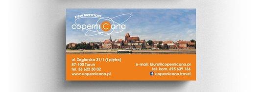 Projekt wizytówki biura turystycznego.