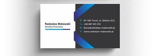 Projekt wizytówki doradcy finansowego.