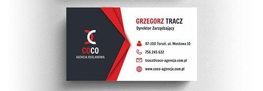 Projekt wizytówki dyrektora agencji reklamowej.