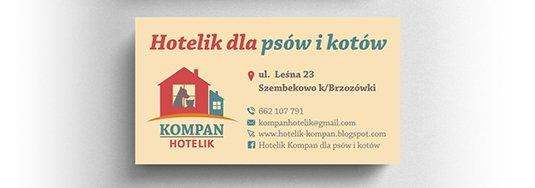 Projekt wizytówki hotelu dla psów i kotów.