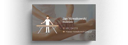 Projekt wizytówki masażysty.