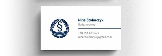 Projekt wizytówki osobistej radcy prawnego.