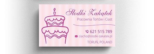 Projekt wizytówki pracowni tortów i ciast.