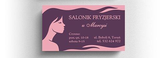 Projekt wizytówki salonu fryzjerskiego.