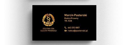 Projekt złotej wizytówki radcy prawnego.